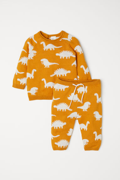 Top and trousers - Dark yellow/Dinosaurs - Kids | H&M