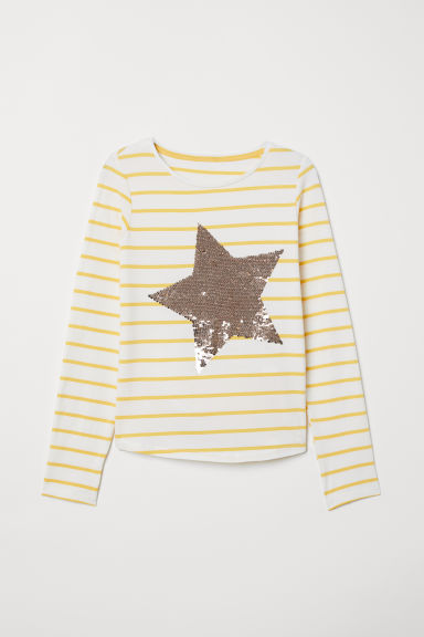 Jersey top with a motif - Natural white/Star - Kids | H&M CN