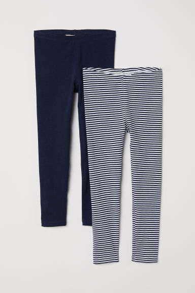 2-pack leggings - Dark blue/Striped - Kids | H&M