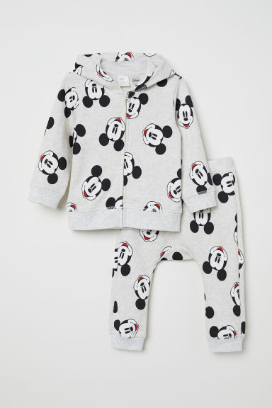 Hooded jacket and trousers - Light grey marl/Mickey Mouse - Kids | H&M CN
