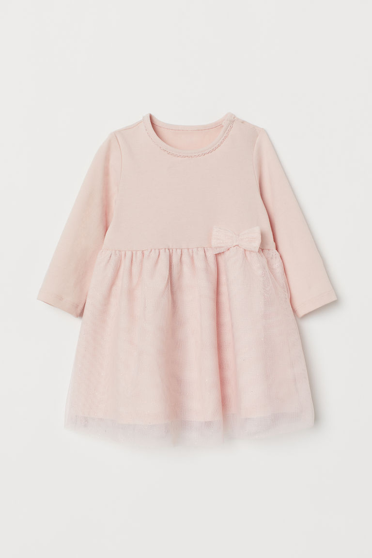 Dress with a tulle skirt - Light pink - Kids | H&M IN