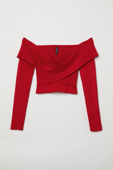 Short off-the-shoulder top - Red -  | H&M CN