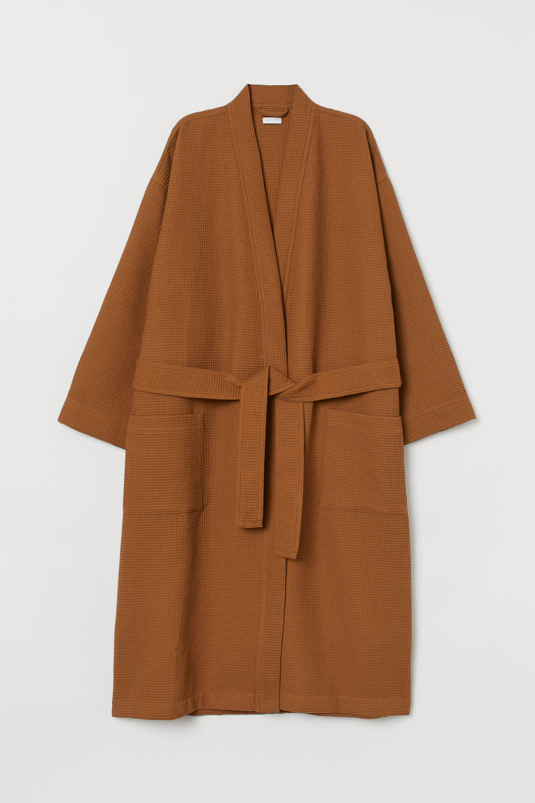 Waffled dressing gown - Ochre -  | H&M CN