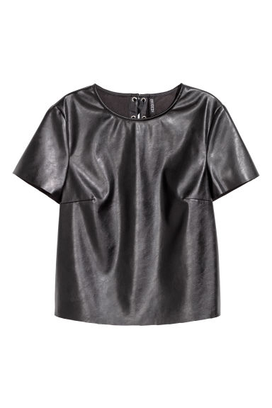 Top with lacing - Black -  | H&M CN