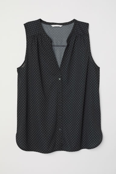 Sleeveless top - Black/Patterned - Ladies | H&M