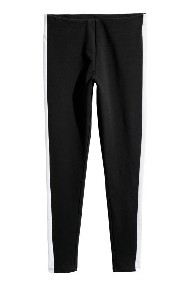 Leggings with side stripes - Black -  | H&M