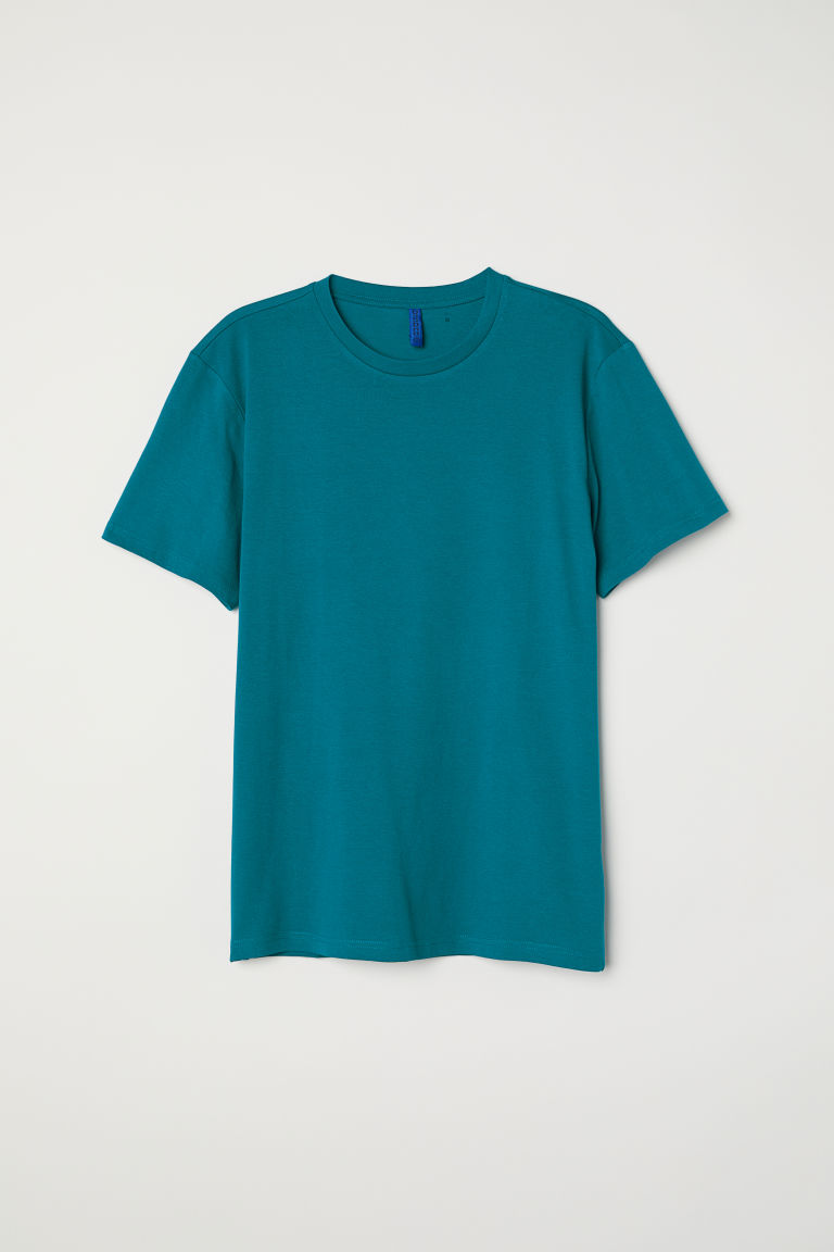 Round-necked T-shirt - Dark turquoise - Men | H&M CN