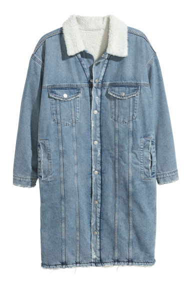 Knee-length denim jacket - Light denim blue - Men | H&M GB