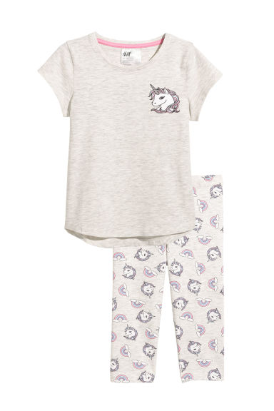 Jersey pyjamas - Light grey marl/Unicorn - Kids | H&M