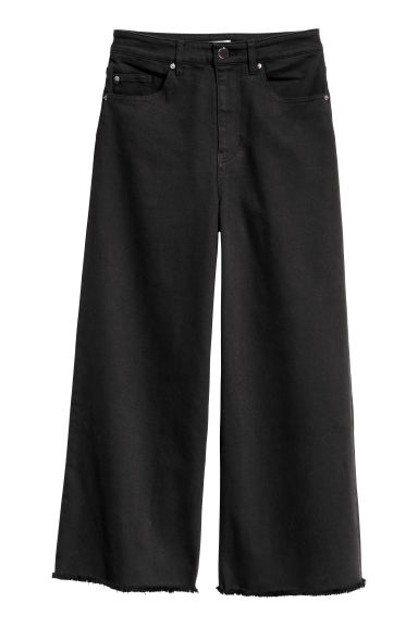 Wide twill trousers - Black -  | H&M