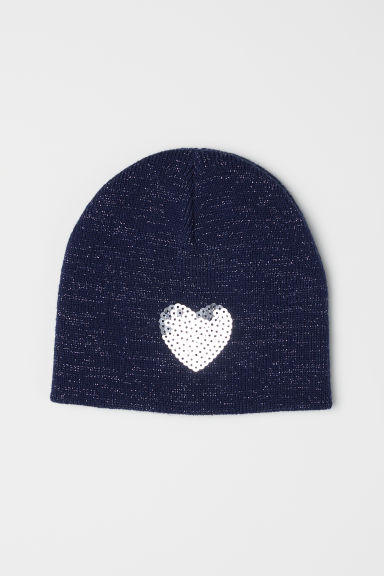 Glittery hat with sequins - Dark blue/Glittery - Kids | H&M GB