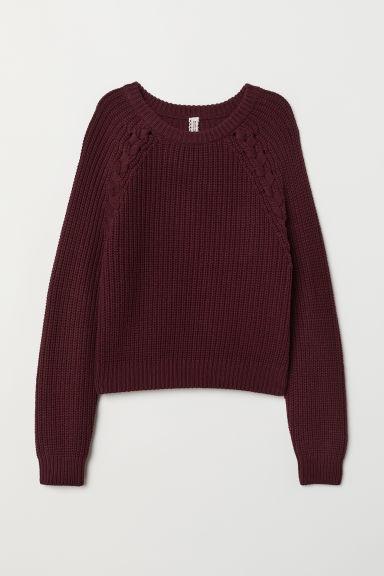 Knitted jumper - Burgundy -  | H&M CN