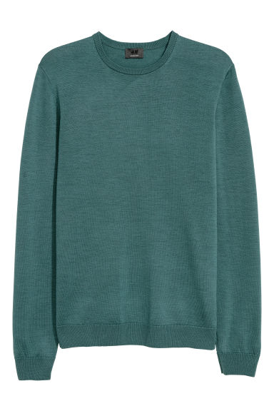 Merino wool jumper - Dark turquoise - Men | H&M