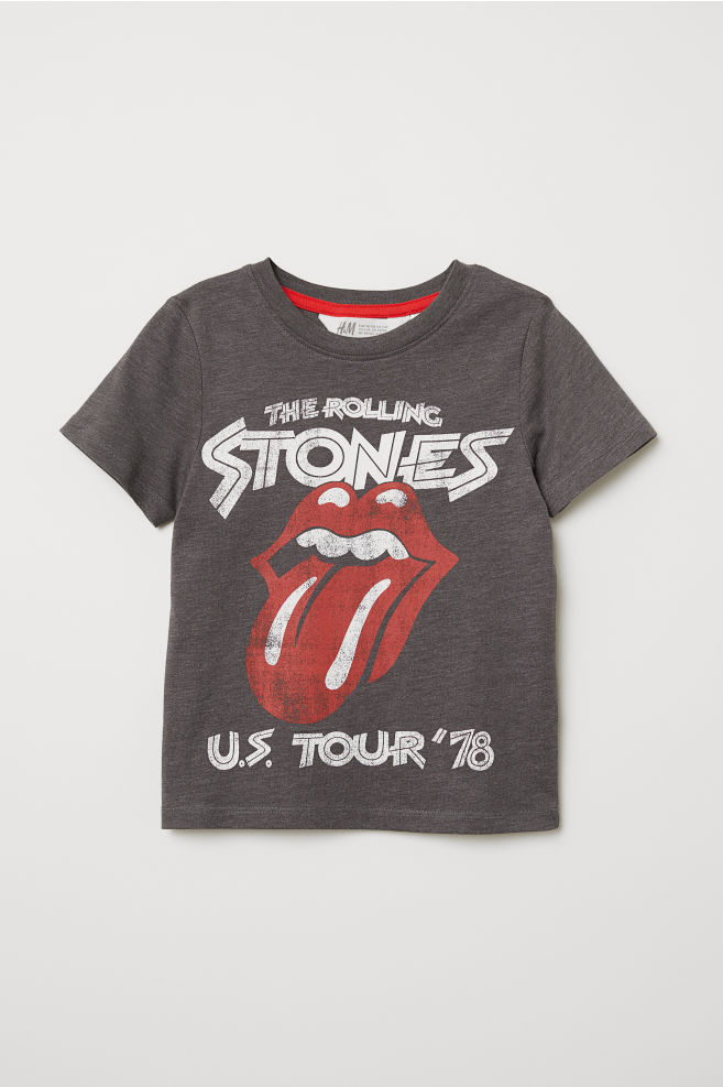 53d30c111b8b84 T-shirt with Printed Design - Dark gray/Rolling Stones - Kids | H&M US