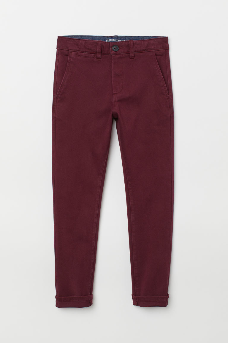 Chino - Slim fit - Donkerrood - KINDEREN | H&M BE