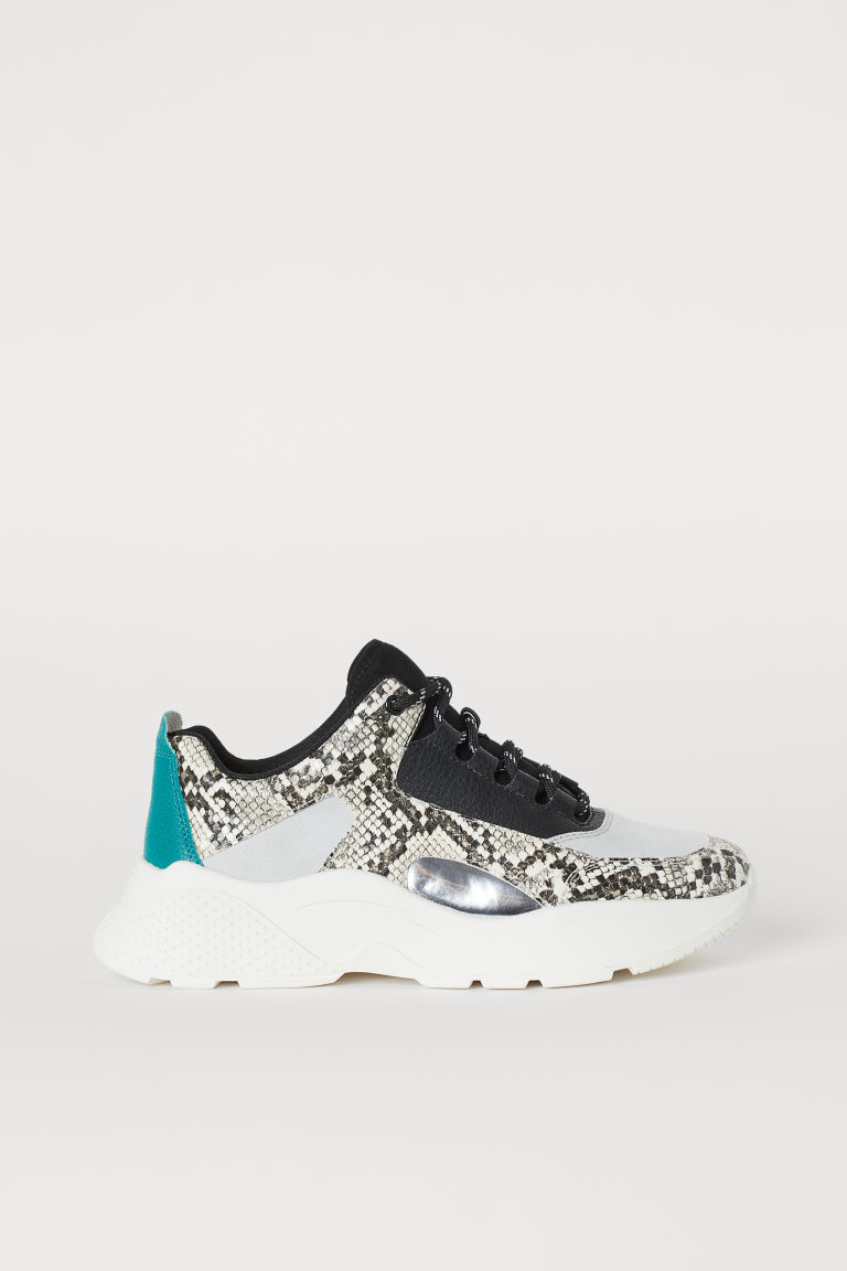 Chunky-soled trainers - Light grey/Snakeskin-patterned -  | H&M
