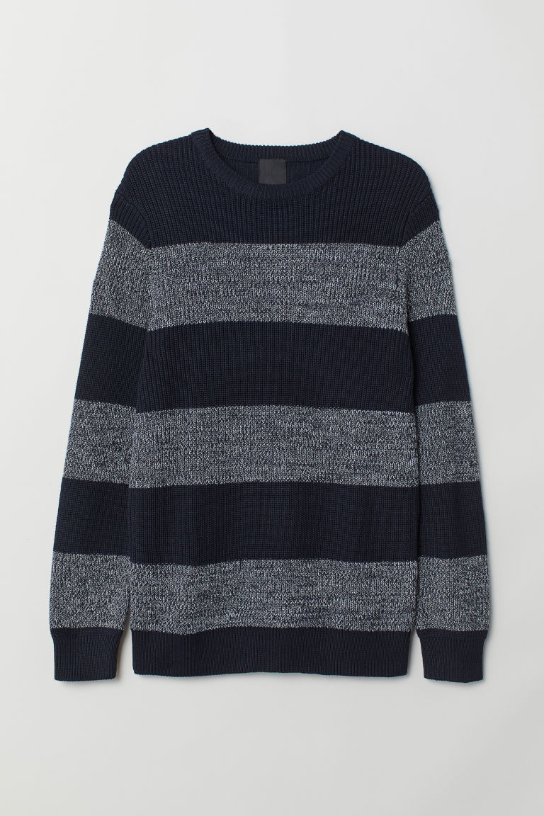 Textured-knit jumper - Dark blue/Striped - Men | H&M
