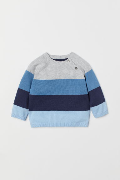 Fine-knit jumper - Light blue/Striped - Kids | H&M