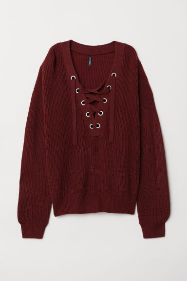 H&M+ Knitted jumper - Dark purple - Ladies | H&M