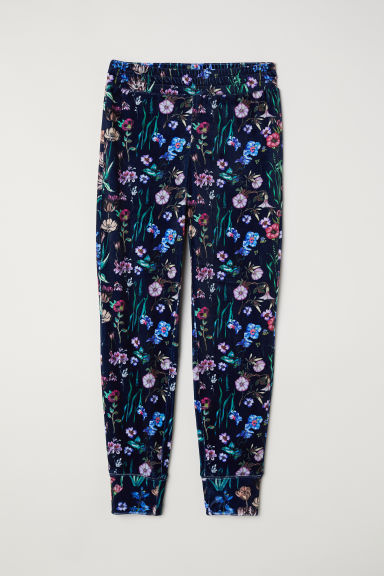 Patterned velour joggers - Dark blue/Floral -  | H&M CN