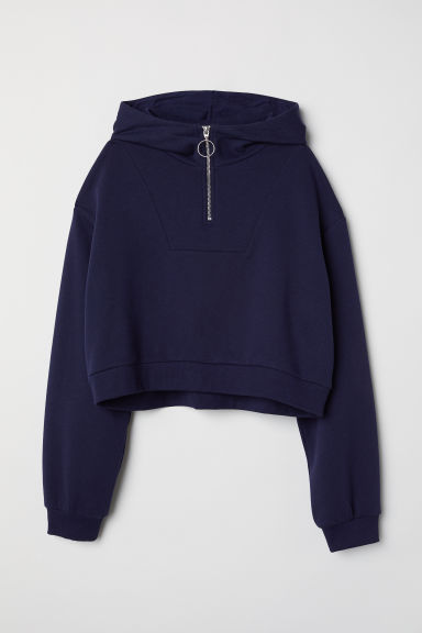 Short hooded top - Dark blue -  | H&M CN