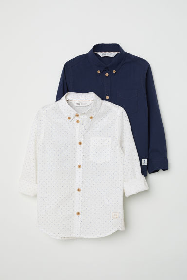 2-pack cotton shirts - Dark blue - Kids | H&M CN