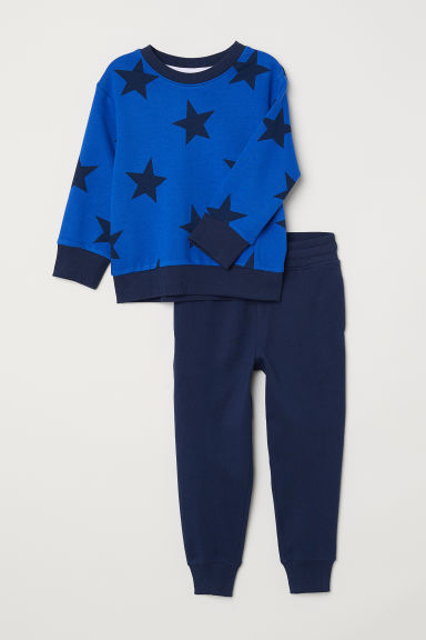 Sweatshirt and trousers - Blue/Stars - Kids | H&M