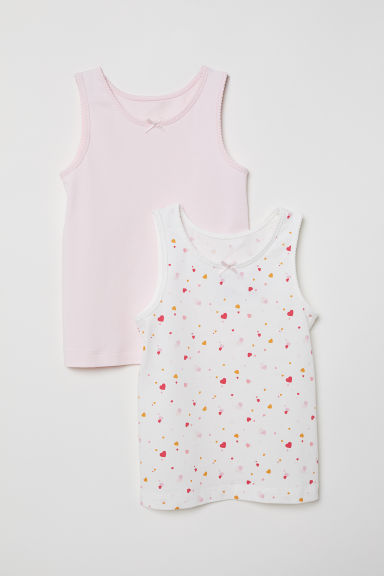 2-pack vest tops - White/Light pink - Kids | H&M CN