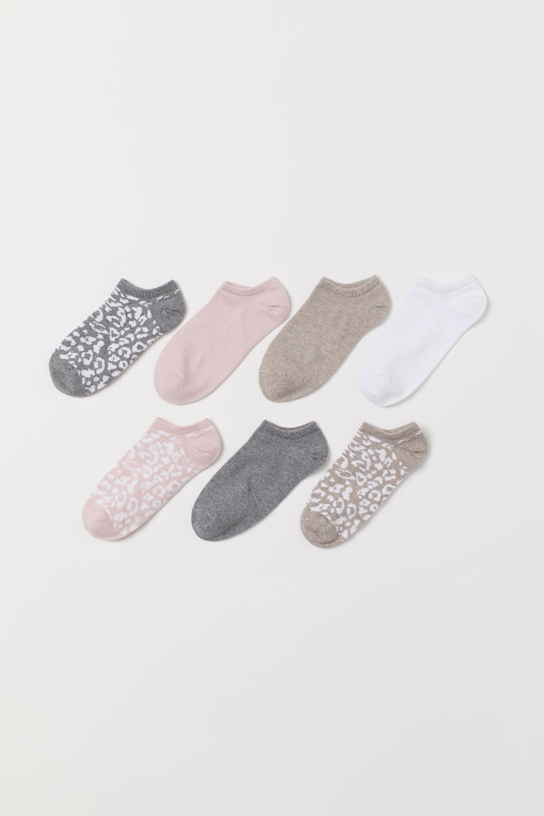 7-pack trainer socks - Beige/Leopard print - Ladies | H&M