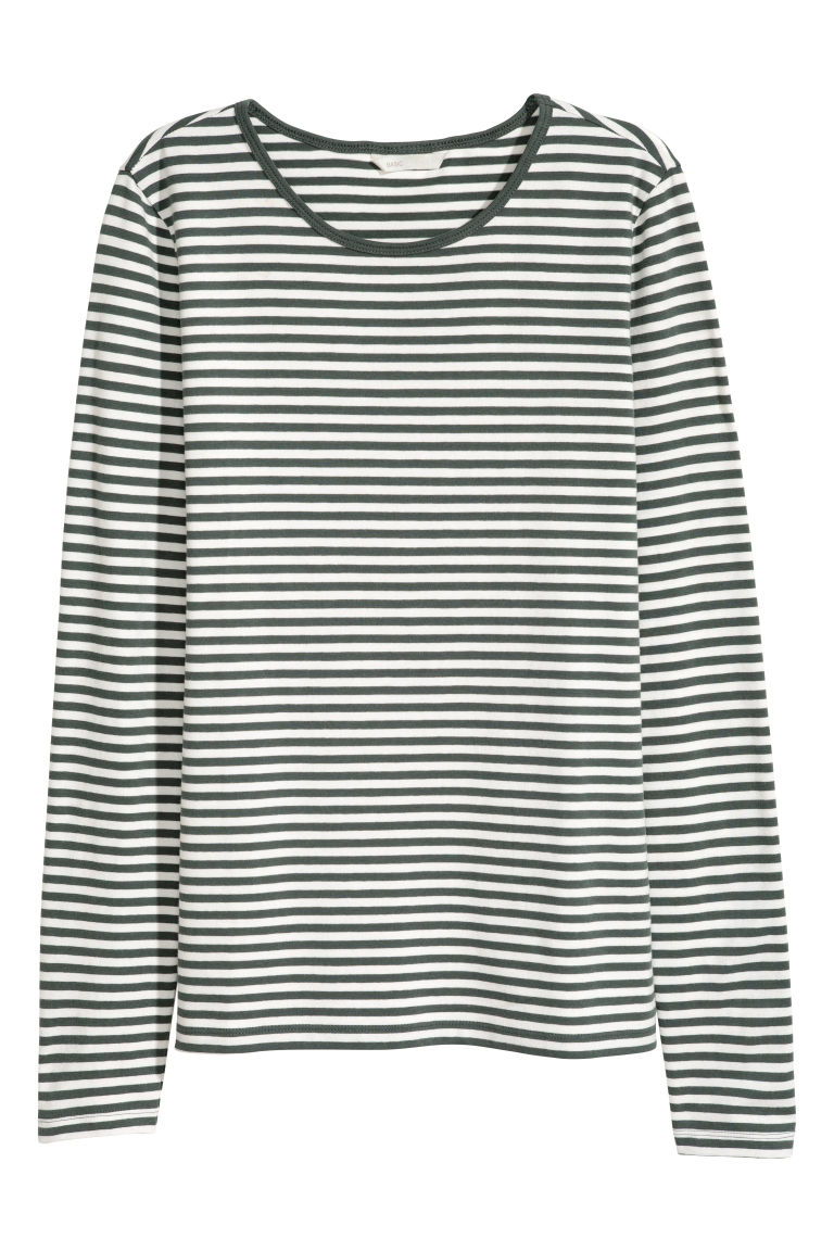 Top jersey a maniche lunghe - Verde/righe - DONNA | H&M IT