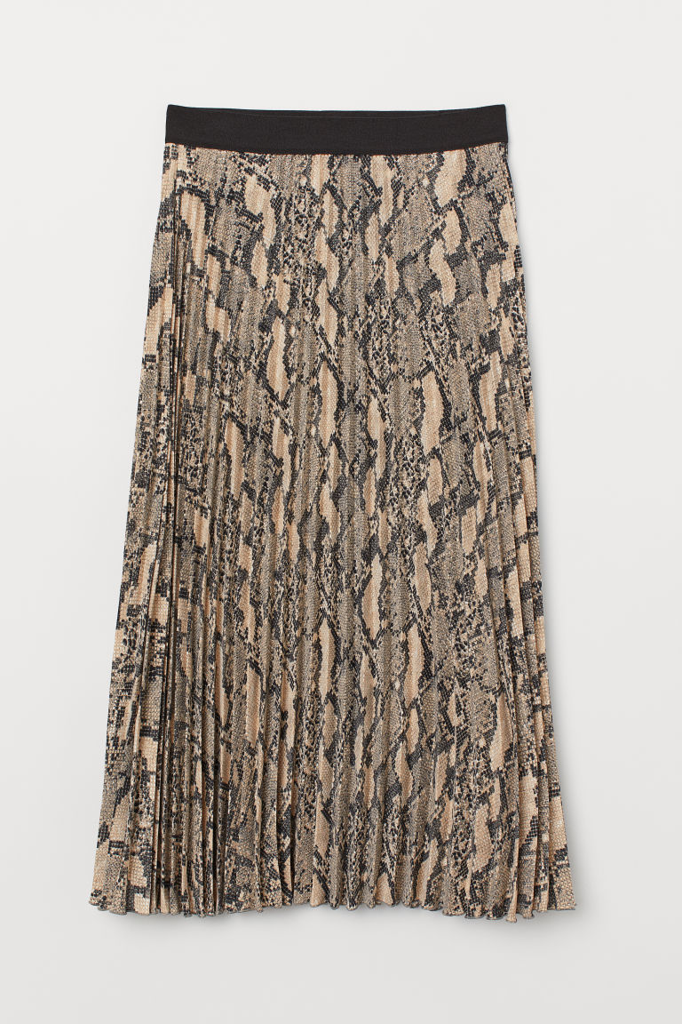 4209ee08103 Pleated skirt - Grey/Snakeskin-patterned - Ladies | H&M GB