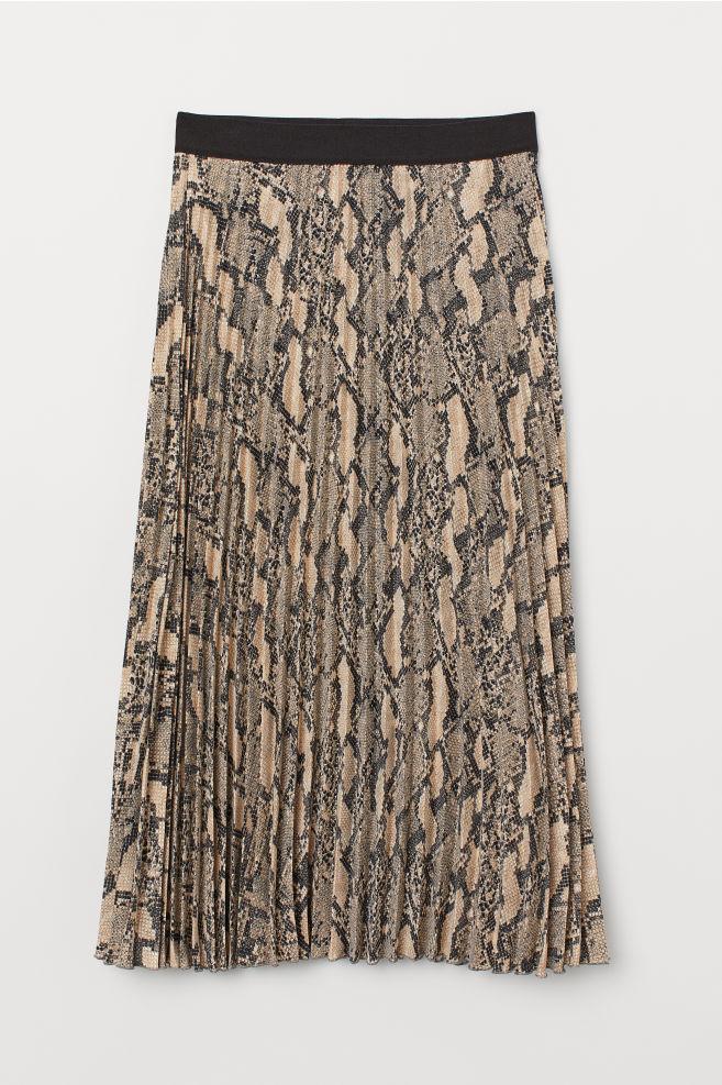 98d859bae Pleated skirt - Grey/Snakeskin-patterned - Ladies   H&M ...