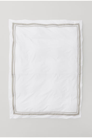 Cotton Satin Duvet Cover - White/light taupe - Home All | H&M US