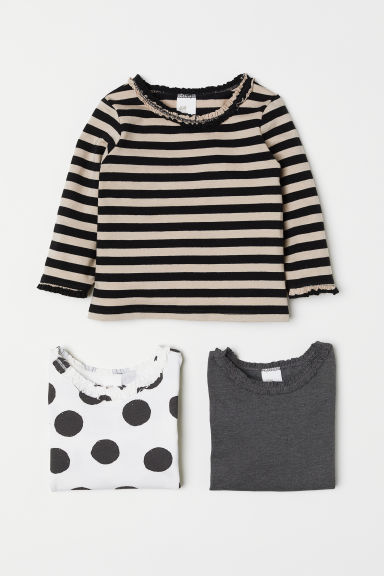 3-pack jersey tops - White/Spotted - Kids | H&M