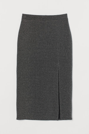 Jersey skirt with a slit