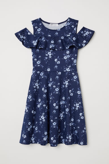Cold-shoulderjurk - Donkerblauw/bloemen -  | H&M BE