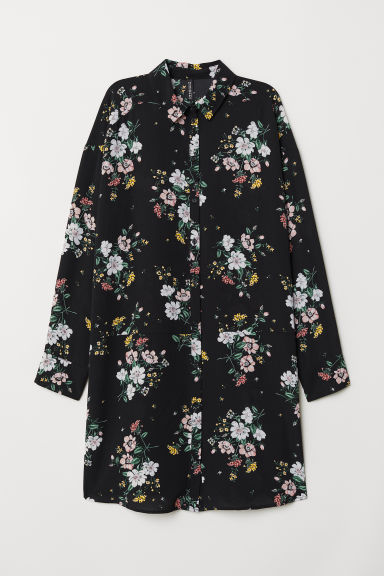 Shirt dress - Black/Floral -  | H&M
