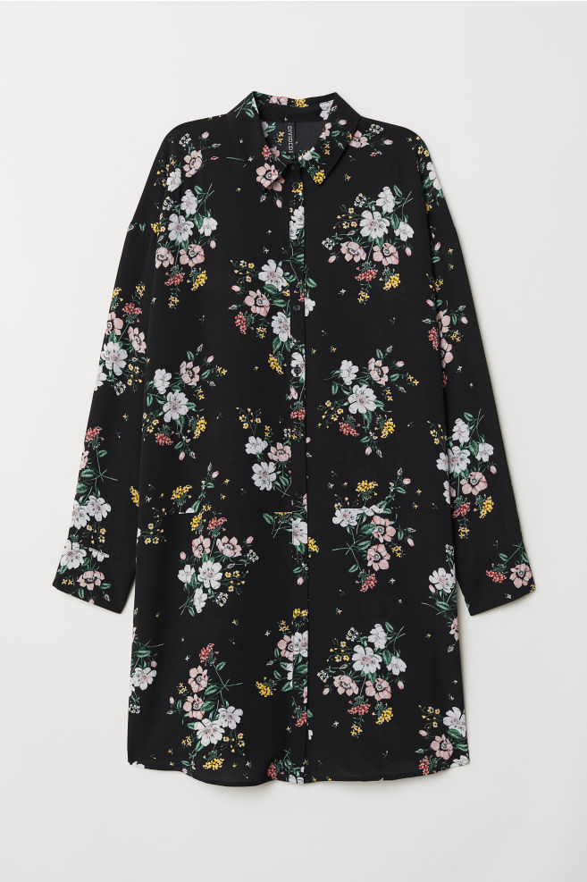 00087a71e4 Shirt Dress - Black floral -