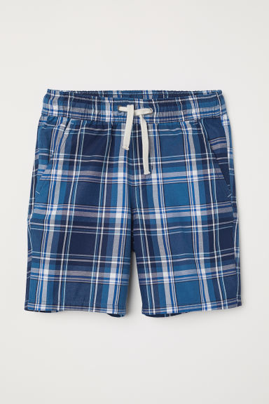 Elasticated shorts - Blue/Checked - Kids | H&M