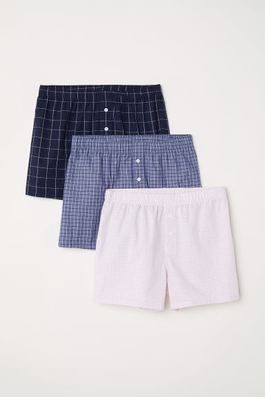 3-pack woven boxer shorts - Blue/Checked - Men | H&M IN