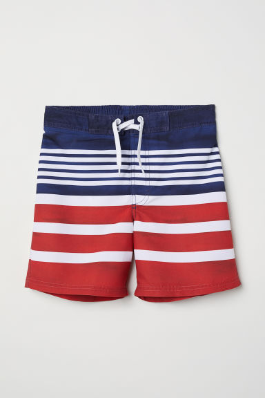 Patterned swim shorts - Red/Striped - Kids | H&M GB