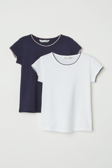 2-pack jersey tops - White/Dark blue -  | H&M CN
