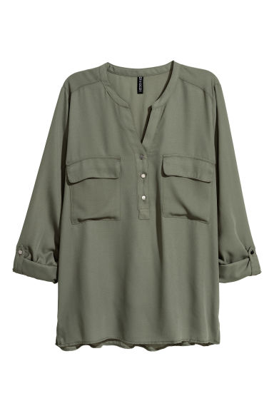 V-neck blouse - Khaki green -  | H&M