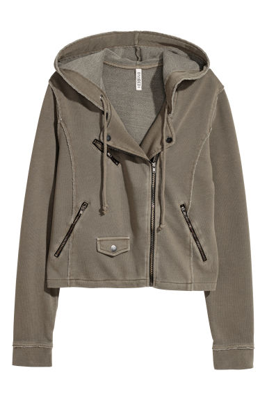Sweatshirt jacket - Khaki green -  | H&M GB