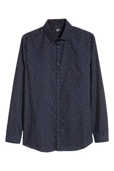 Shirt Slim fit - Dark blue/Patterned - Men | H&M CN