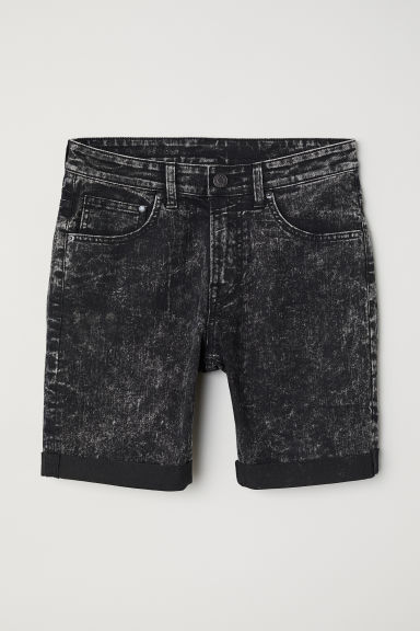 Skinny denim shorts - Black/Washed - Men | H&M