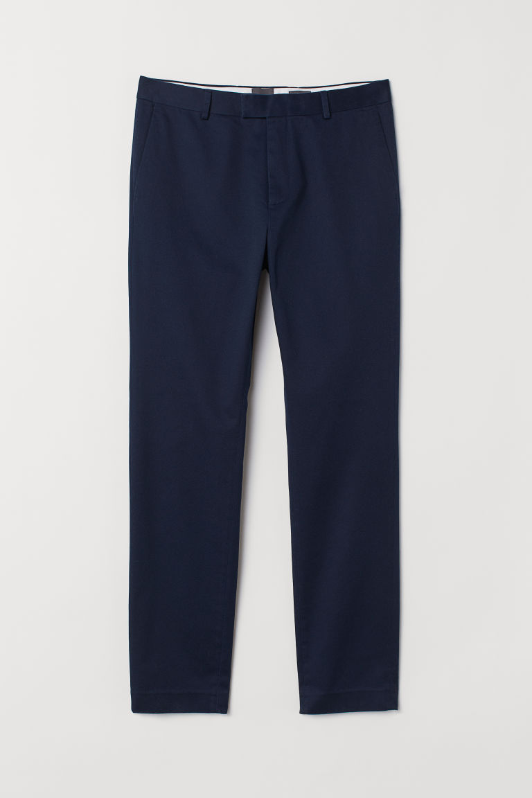 Chinos in cotone Slim Fit - Blu scuro -  | H&M CH