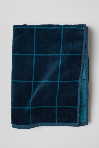 Jacquard-weave bath towel - Petrol/Checked - Home All | H&M CN