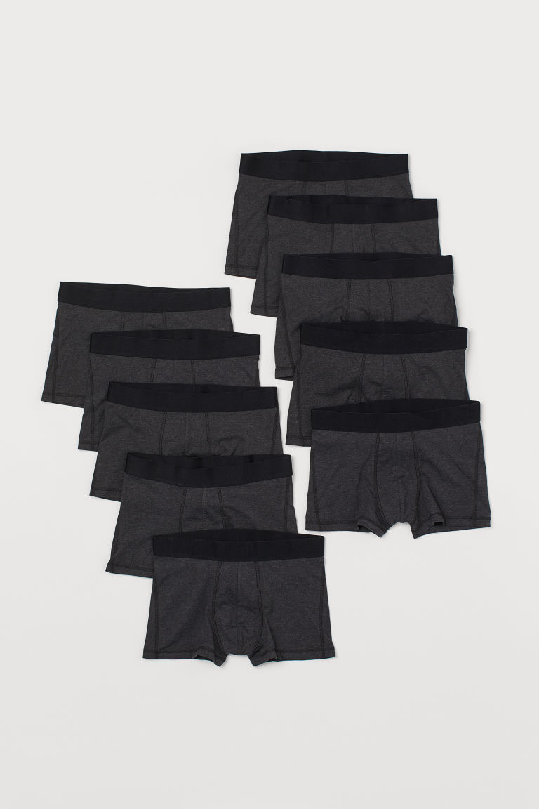 10-pack Short Boxer Shorts - Dark gray melange - Men | H&M US