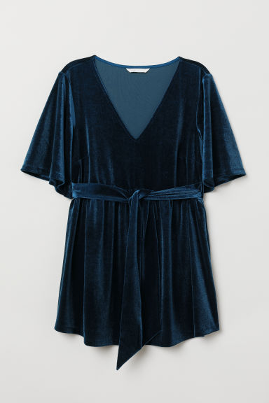 MAMA Top in velour - Blu scuro - DONNA | H&M IT